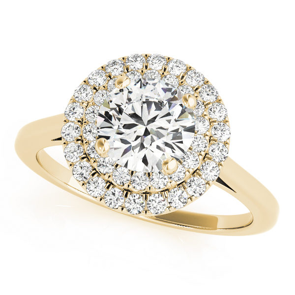 Yellow gold double halo round engagement ring in a solitaire setting