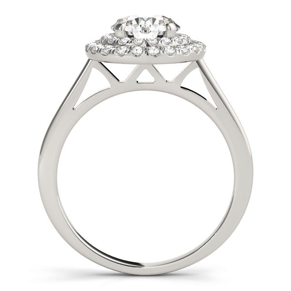 Front view of a white gold double halo round engagement ring in a solitaire setting
