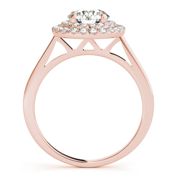 Front view of a rose gold double halo round engagement ring in a solitaire setting