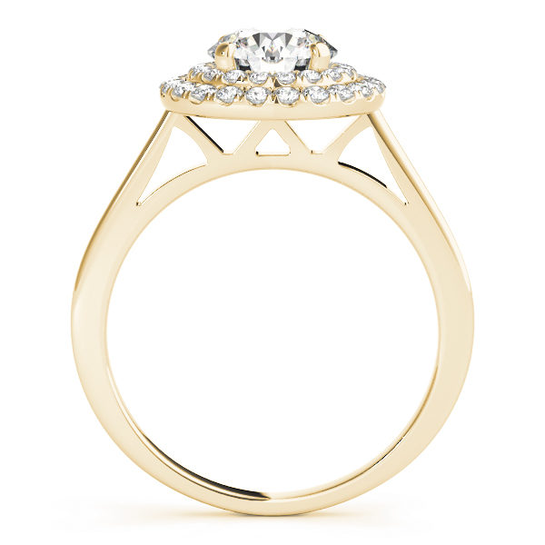 Front view of a yellow gold double halo round engagement ring in a solitaire setting