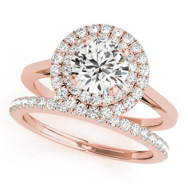Wedding set of a double halo round engagement ring and a wedding diamond band in rose gold