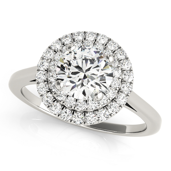 White gold double halo round engagement ring in a solitaire setting