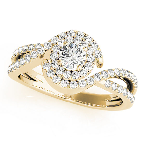 Twisted yellow gold ring band with pave halo and a round-cut diamond on a 4-pronged ring setting