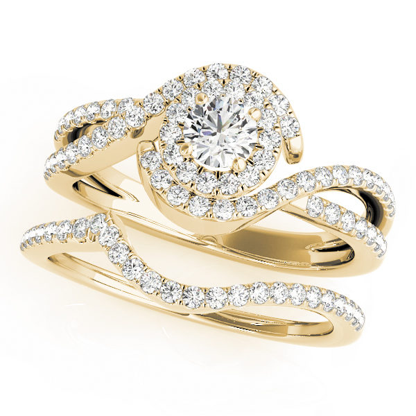 Twisted, double band halo diamond ring made from yellow gold with a round cut diamond at the center.