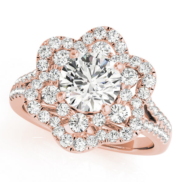 top view of a flower halo diamond engagement ring in rose gold