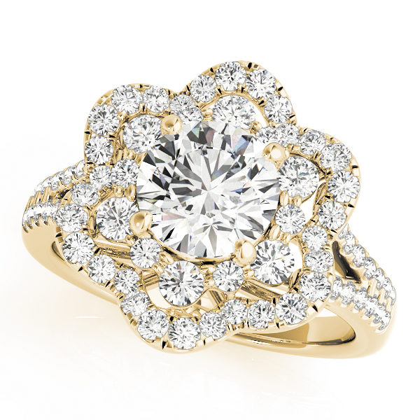 top view of a flower halo diamond engagement ring in yellow gold