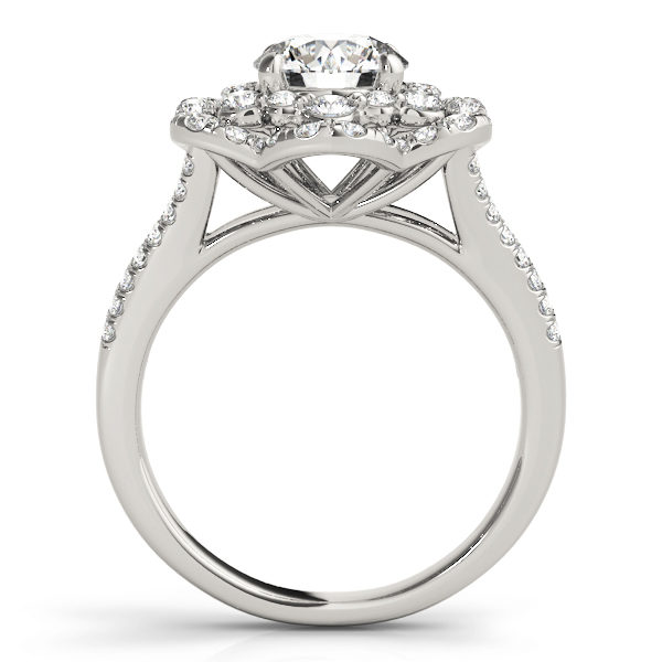 front view of aflower halo diamond engagement ring in white gold