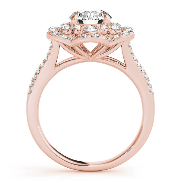 front view of aflower halo diamond engagement ring in rose gold