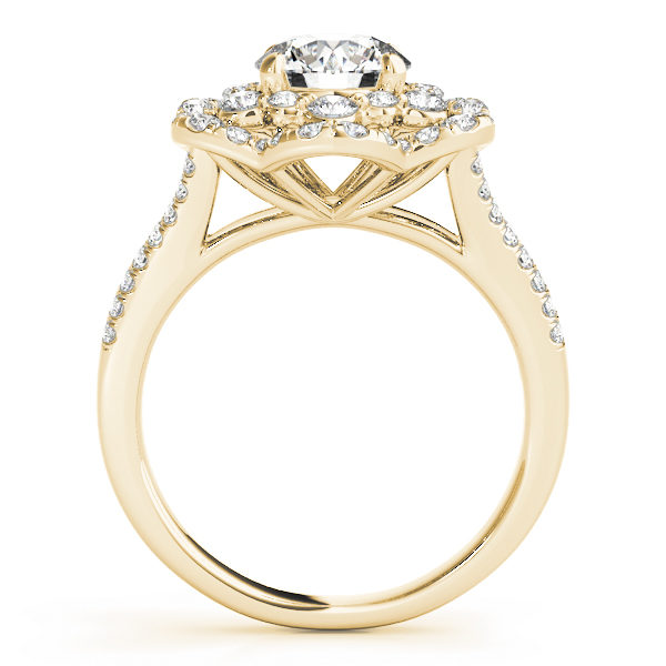 front view of aflower halo diamond engagement ring in yellow gold