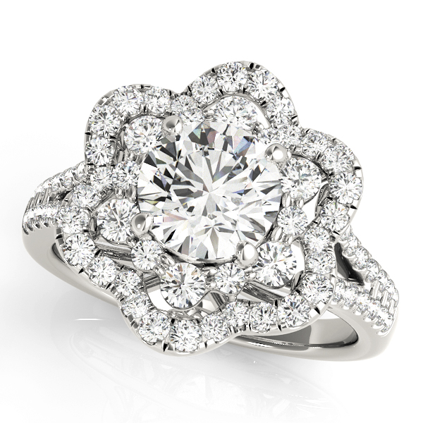 top view of a flower halo diamond engagement ring in white gold