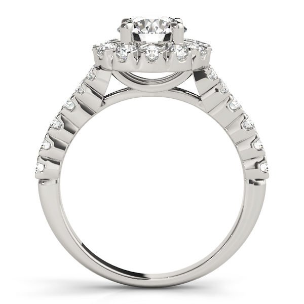 Front view of round cut engagement ring showing the side of the ring in white gold