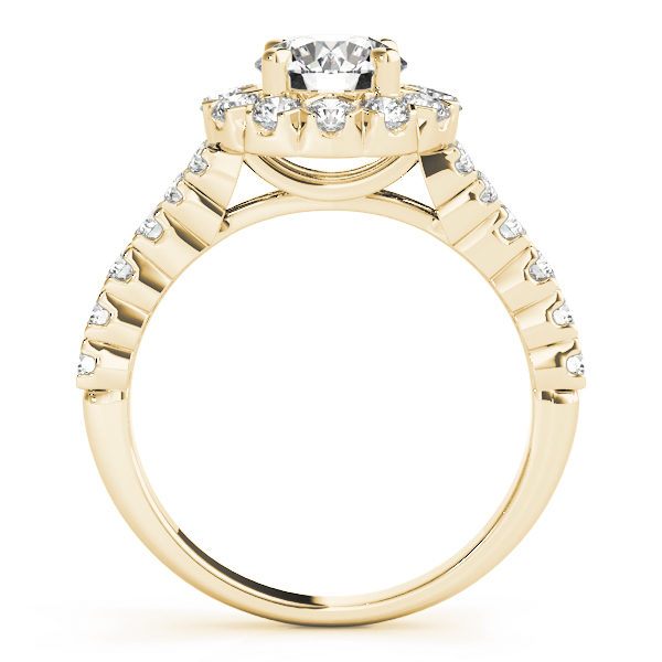 Front view of Yellow Gold Round Cut Halo Engagement Ring 50998-E