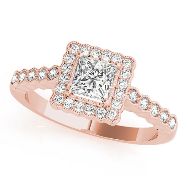 Rose gold ring band with pave halo design and a princess cut diamond in a 4-pronged setting at the center
