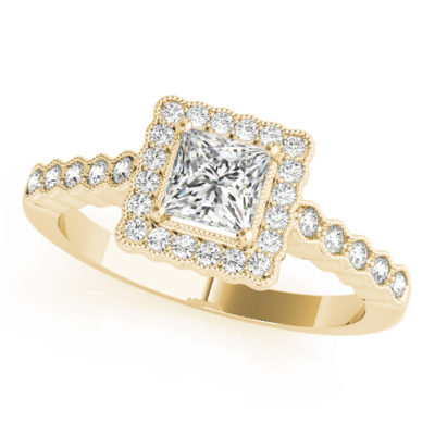 Yellow gold ring band with pave halo design and a princess cut diamond in a 4-pronged setting at the center