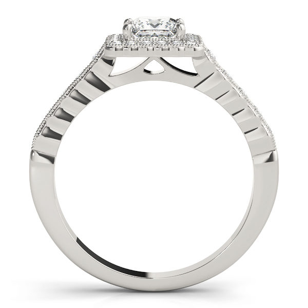 Sideview of a white gold ring with pave halo design and a princess cut Diamond in a 4-pronged setting