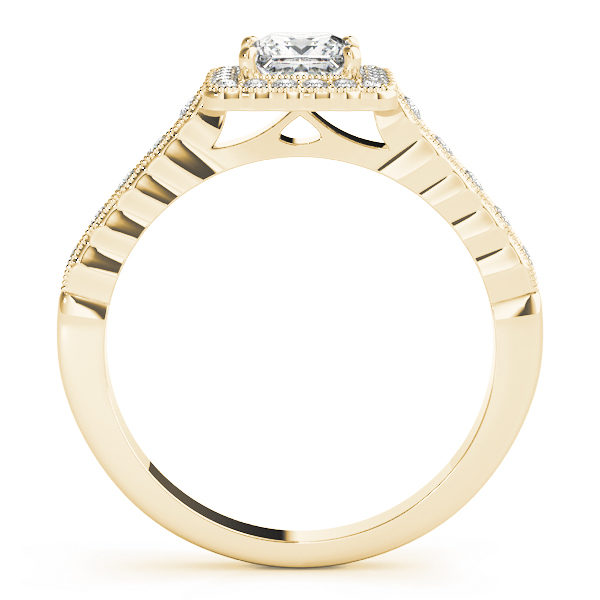 Sideview of a yellow gold ring with pave halo design and a princess cut Diamond in a 4-pronged setting