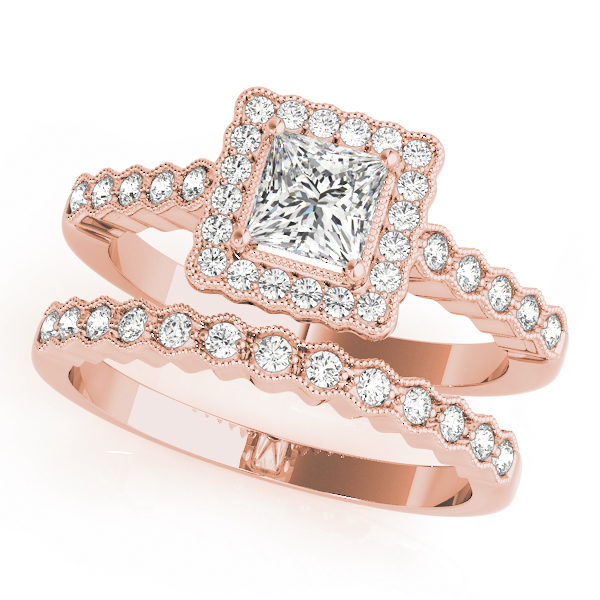 Double band rose gold ring with pave halo design and a princess cut diamond in a 4-pronged setting
