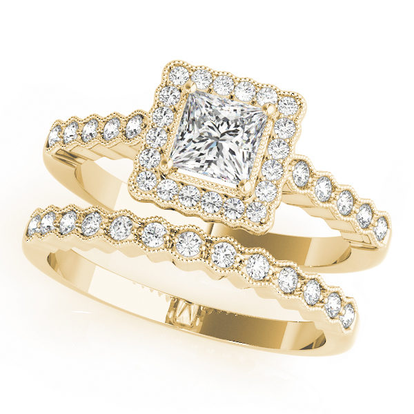 Double band yellow gold ring with pave halo design and a princess cut diamond in a 4-pronged setting