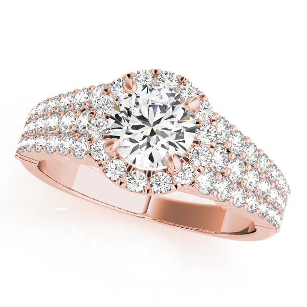 Rose gold three layered pave set diamond halo engagement ring