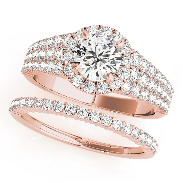 Pave set wedding rose gold ring set consisting of diamond halo engagement ring and a studded wedding band