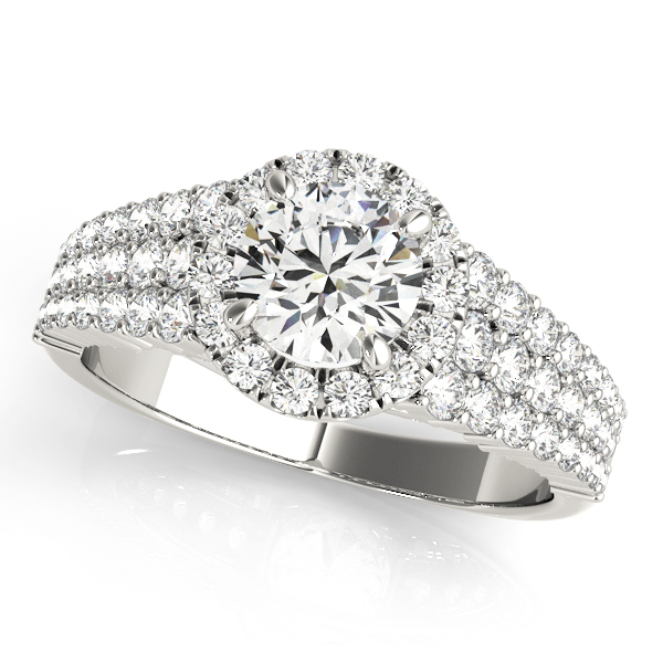 White gold three layered pave set diamond halo engagement ring