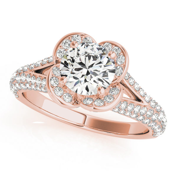 Rose gold clover shaped halo diamond ring in split shank with pave of diamonds