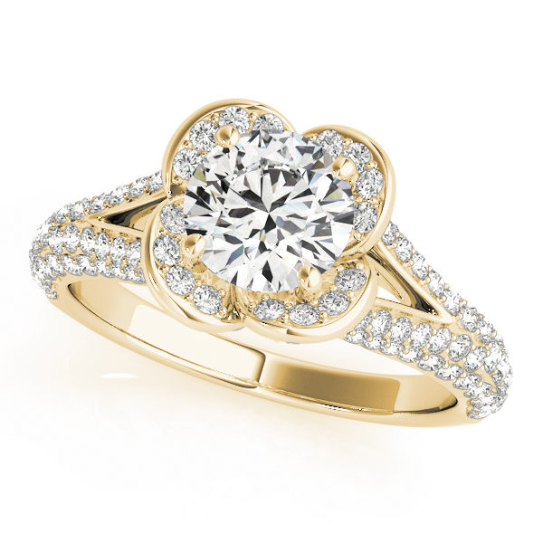 Yellow gold clover shaped halo diamond ring in split shank with pave of diamonds