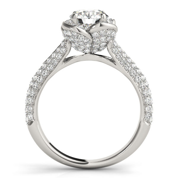 Front view of a standing white gold pave diamond halo engagement ring