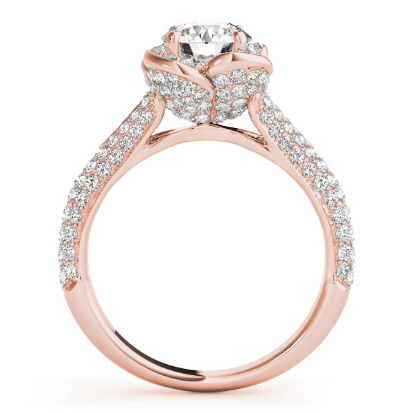 Front view of a standing rose gold pave diamond halo engagement ring