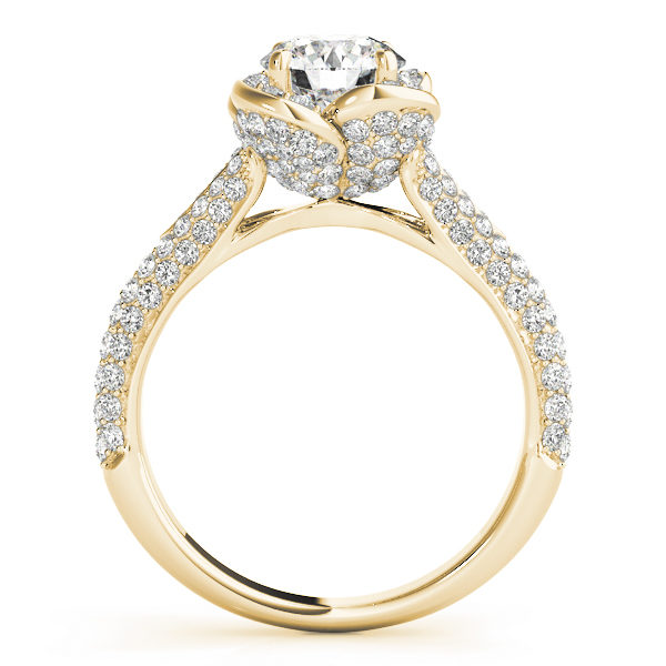 Front view of a standing yellow gold pave diamond halo engagement ring