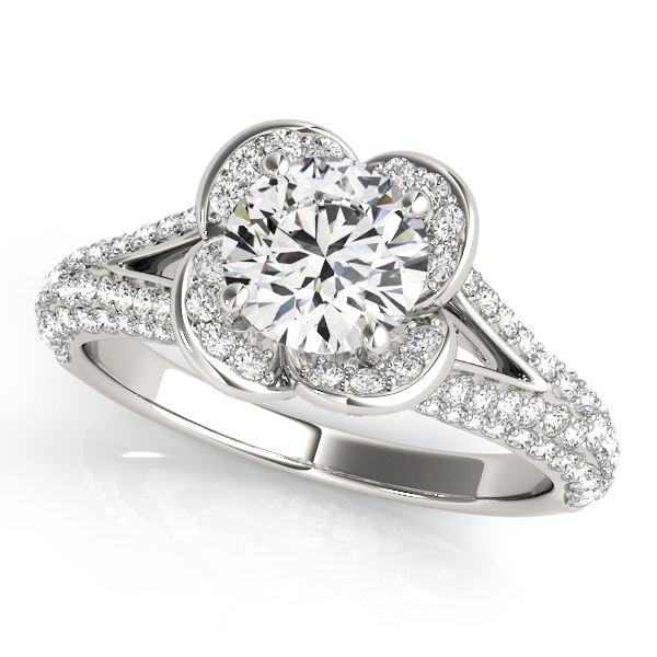 White gold clover shaped halo diamond ring in split shank with pave of diamonds