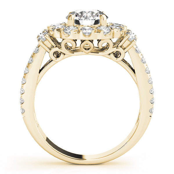 front view of large halo diamond ring in a two row band in yellow gold