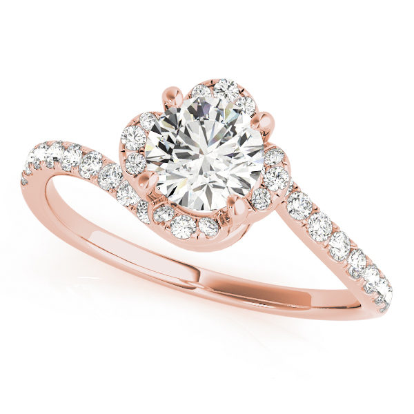 top view of a rose gold floral inspired bypass halo engagement ring