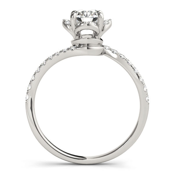 front view of a white gold diamond twist shank engagement ring