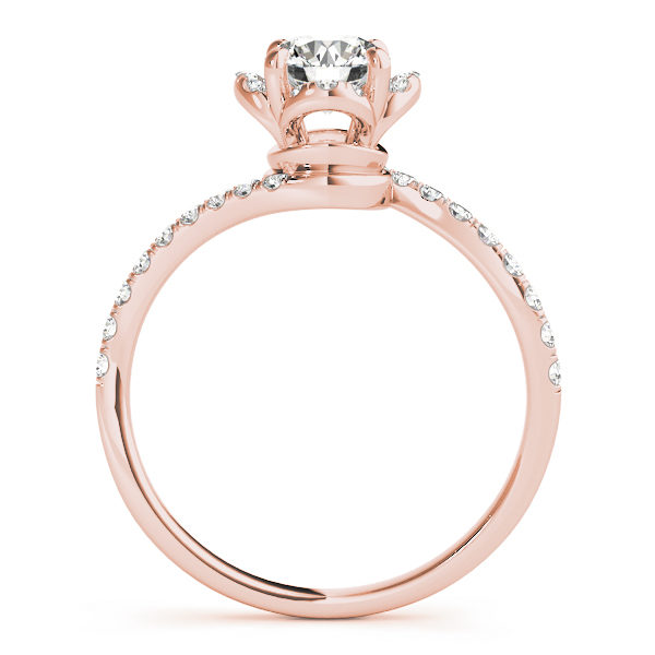 front view of a rose gold diamond twist shank engagement ring