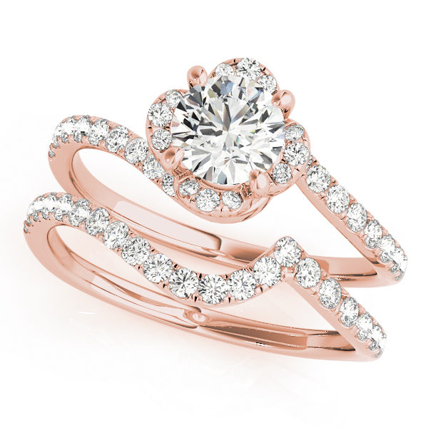 top view of a rose gold diamond twist shank engagement ring and a twist band with diamond accents