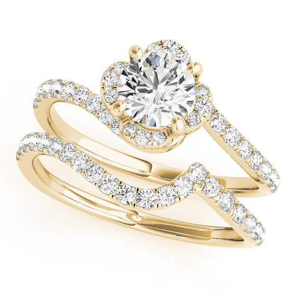top view of a yellow gold diamond twist shank engagement ring and a twist band with diamond accents