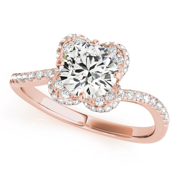 top view of a rose gold diamond twist shank engagement ring