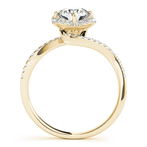front view of a yellow gold diamond twist shank engagement ring