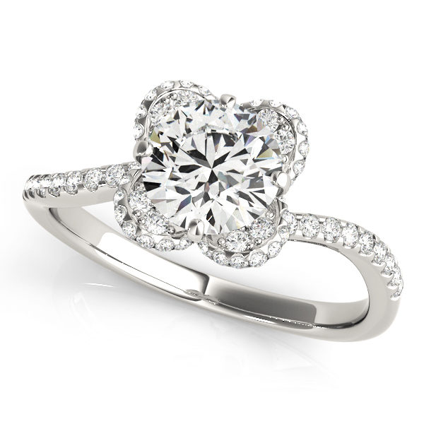 top view of a white gold diamond twist shank engagement ring