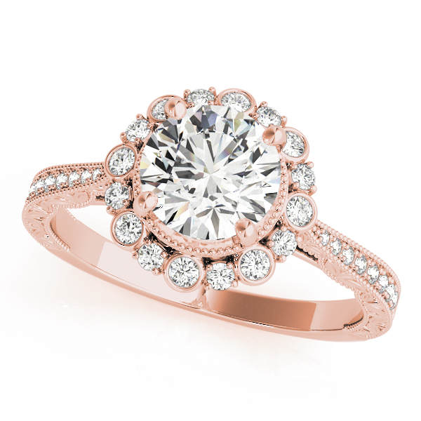 top view of a rose gold diamond round halo engagement ring
