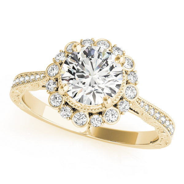 top view of a yellow gold diamond round halo engagement ring