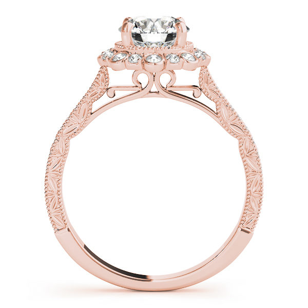 front view of a rose gold diamond round halo engagement ring with leaf designs on the shank