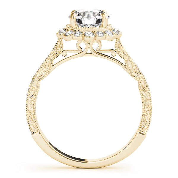 front view of a yellow gold diamond round halo engagement ring with leaf designs on the shank