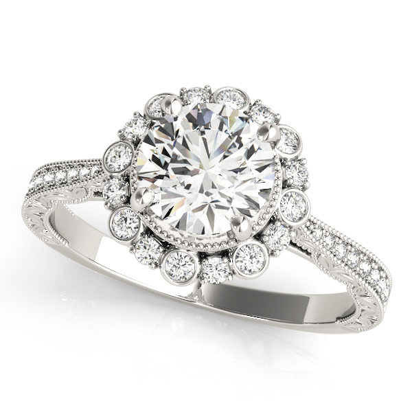 top view of a white gold diamond round halo engagement ring