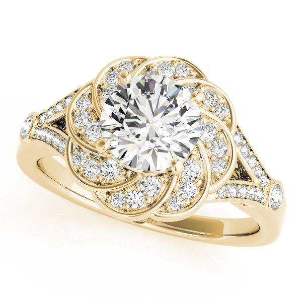 Top view of a yellow gold diamond flower ring designed with floral swirl in a split shank band