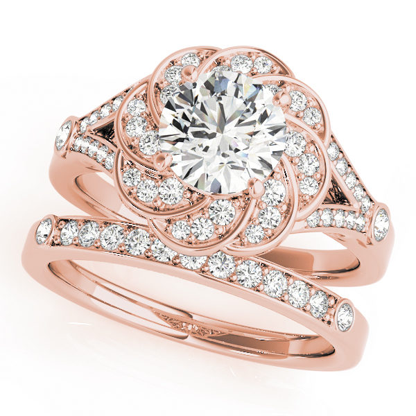Wedding set of a rose gold diamond flower ring in split shank and a wedding band embedded with row of diamonds in upper shank