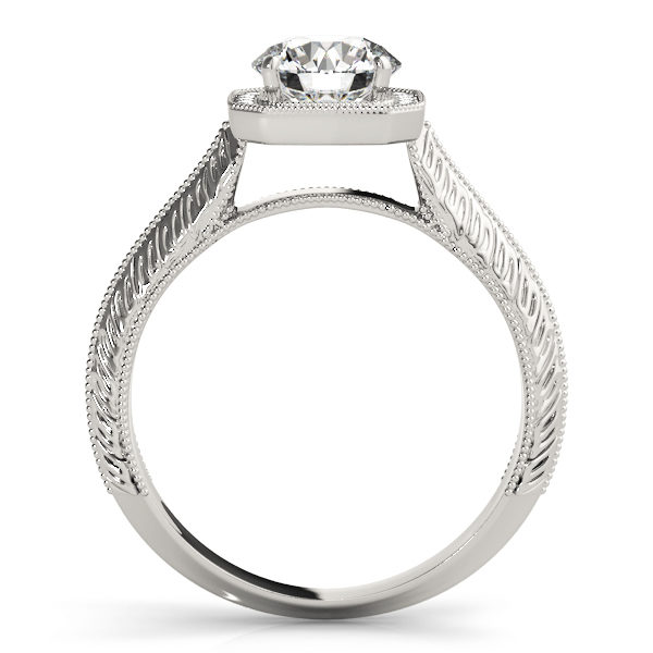 Side view of a silver engagement ring in a straight cathedral design band with intricate designs