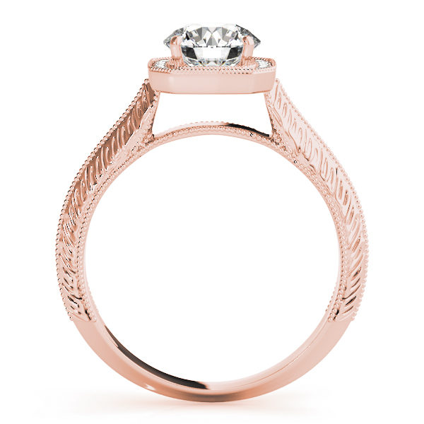 Side view of a rose gold engagement ring in a straight cathedral design band with intricate designs