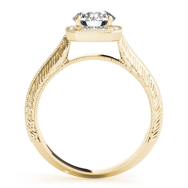 Side view of a white gold engagement ring in a straight cathedral design band with intricate designs